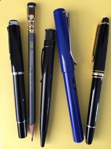 (L to R) Pelikan M205; Palomino Blackwing 602; Retro 51 Stealth; Lamy Safari; Montblanc Meisterstuck Classique