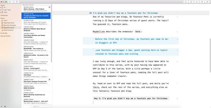 Three pane view on Mac - folder structure at left.