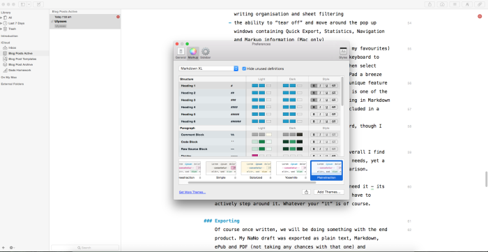 Style and theme options in preferences on Mac.